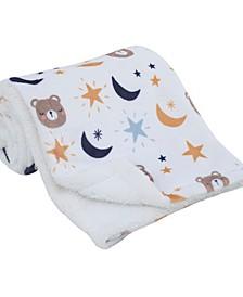 Goodnight Sleep Tight Bear, Moon and Star Super Soft Baby Blanket