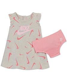 Baby Girls 2-Pc. Swooshfetti-Print Dress & Diaper Cover Set