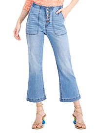 INC Button Fly Cropped Flare-Leg Jeans, Created for Macy's