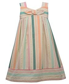 Little Girls Sleeveless Bandeau Sundress with Stripes and Banded Bottom