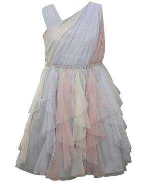 Bonnie Jean BIG GIRLS ASYMMETRIC PANEL MESH CASCADE DRESS WITH JEWELED TRIMMED WAISTLINE