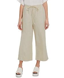 Drawstring Wide-Leg Cropped Linen Pants