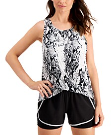 Snakeskin-Print Twist-Front Sleeveless Top, Created for Macy's