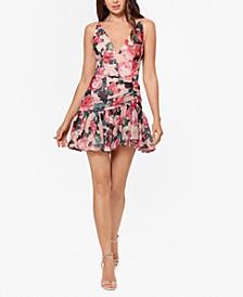 Juniors' Floral Chiffon Fit & Flare Dress