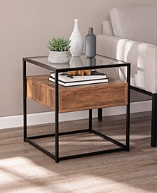 Olivern Glass-top End Table with Storage