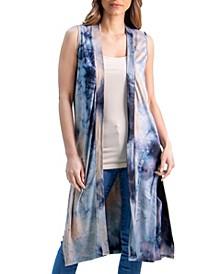 Women's Tie Dye Sleeveless Open Front Cardigan Vest