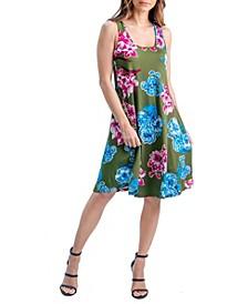 Women's Floral Print Sleeveless Knee Length Dress