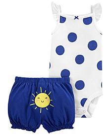 Baby Girls Polka Dot Bodysuit Short, 2 Piece Set