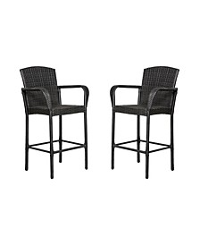 """47"""" All Weather Outdoor Patio Wicker Barstool, Set of 2"""