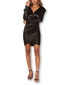 Women's Ruched Bodycon Wrap Dress