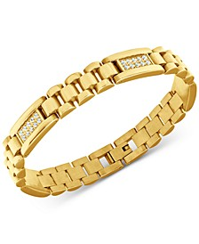 Men's Cubic Zirconia Cluster Watch Link Bracelet in Gold-Tone Ion-Plated Stainless Steel