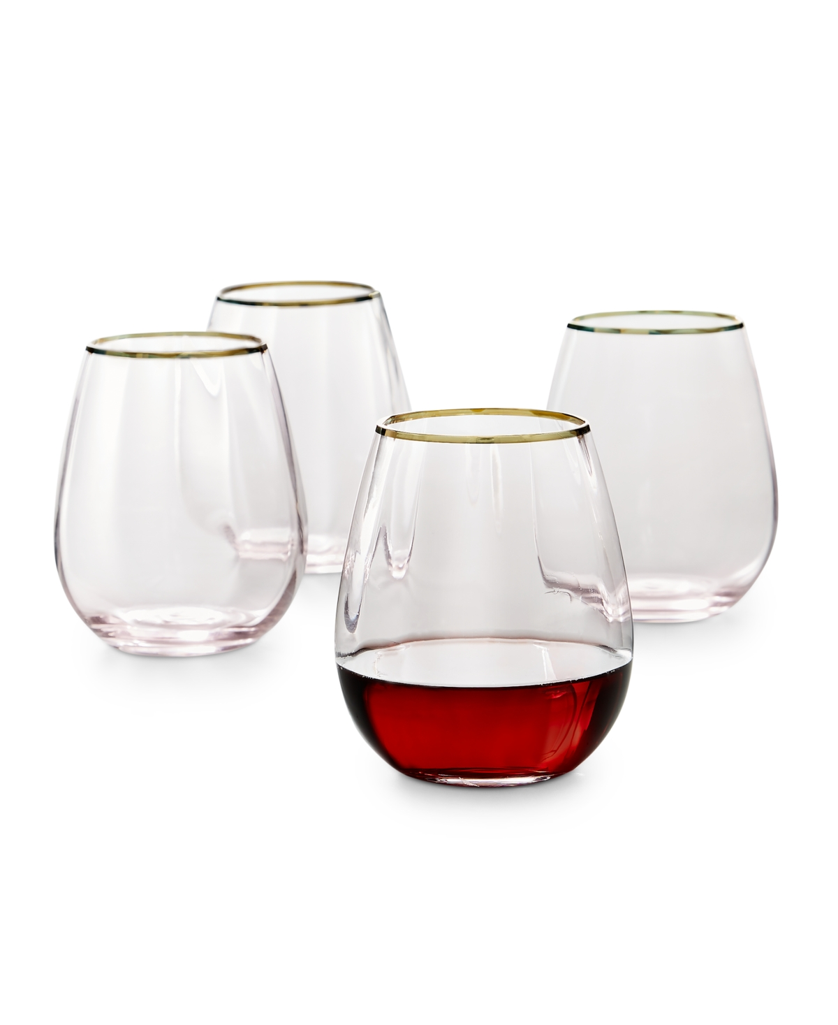 Martha Stewart Collection Blush Optic Stemless Wine Glasses, Set of 4, Created for Macy's