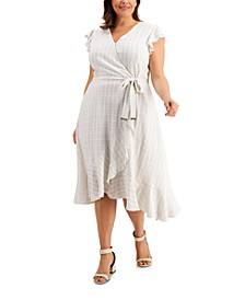Plus Size Textured Printed Ruffled-Sleeve Faux-Wrap Dress