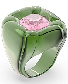 Crystal Molded Solitaire Statement Ring