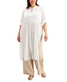 Plus Size Crinkle Cotton Button-Front Tunic