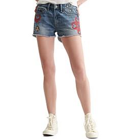 Cotton Denim Boyfriend Shorts