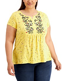 Plus Size Floral-Print Top, Created for Macy's