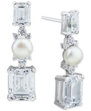 Cultured Freshwater Pearl (6mm) & Cubic Zirconia Drop Earrings in Sterling Silver