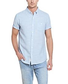 Men's Short Sleeves Button Down Slub Twill Shirt