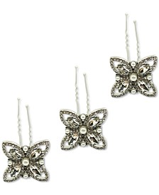 INC 3-Pc. Silver-Tone Crystal & Imitation Pearl Flower Bobby Pin Set, Created for Macy's