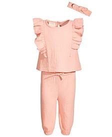 Toddler Girls 3-Pc. Crinkle Gauze Top, Pants & Headband Set, Created for Macy's
