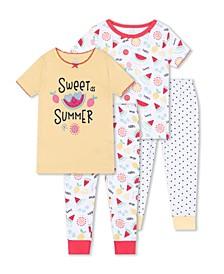 Baby Girls Watermelon Sleepwear, 4 Piece Set
