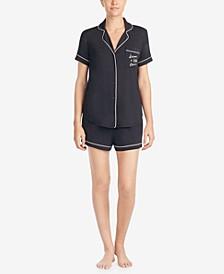 Women's Short Sleeve Modal Knit Notch Short Pajama Set