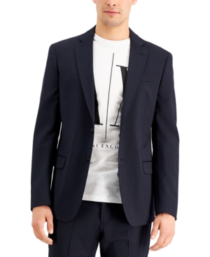 Armani Exchange Men's Slim-Fit Navy Solid Wool Suit Separate Jacket