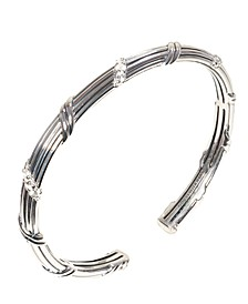 Signatuer Classic Pave Oval Cuff In Sterling Silver With White Topaz