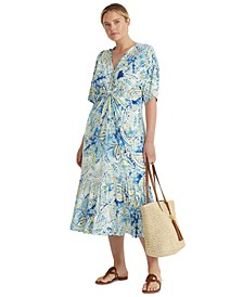 Plus Size Twisted-Front Paisley Print Dress