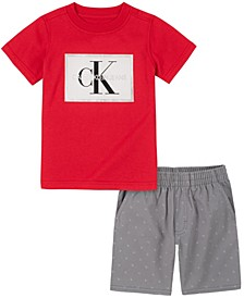 Toddler Boys Knit Crewneck with Twill Short Set, 2 Piece