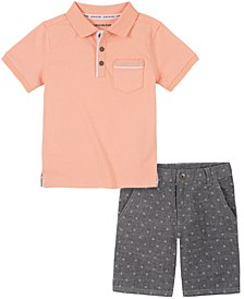Little Boys Salmon Knit Polo with Chambray Print Short Set, 2 Piece