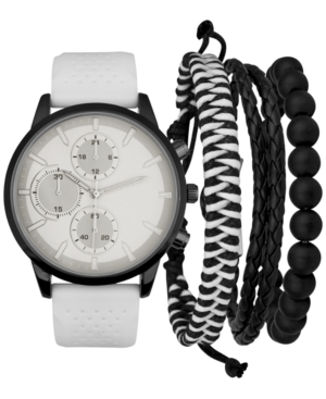 INC INTERNATIONAL CONCEPTS INC MEN'S WHITE PERFORATED SILICONE STRAP WATCH 45MM & 3-PC. BRACELETS SET, CREATED FOR MACY'S