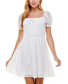 Juniors' Clip-Dot Smocked Dress