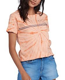 Juniors' Palm Stripe Cotton Graphic T-Shirt