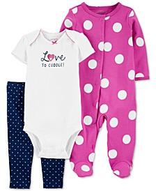 Baby Girls 3-Pc. Polka Dot Sleep & Play & Pant Set