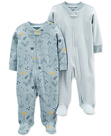 Baby Boys Two-Pack Cotton Zip-Up Sleep & Plays