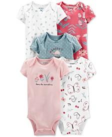Baby Girl 5-Pack Multi-Pattern Short-Sleeve Bodysuits