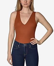 Juniors' Rib-Knit Sleeveless Bodysuit