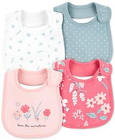 Baby Girls 4-Pack Floral Teething Bibs