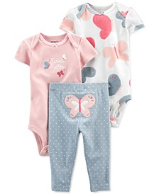 Baby Girls 3-Pc. Butterfly Little Character Set