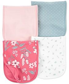 Baby Girls 4-Pack Burp Cloths