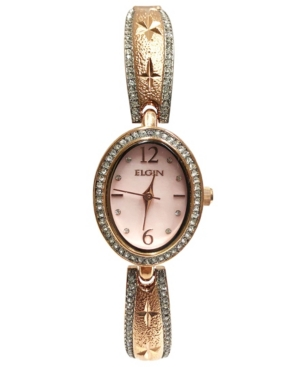 Women's Oval Face with Diamond Half Bangle Rose-Tone Strap Watch