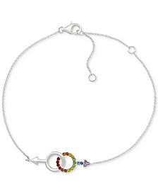 Rainbow Crystal Boyfriends Link Bracelet in Sterling Silver