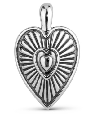 by Carolyn Pollack Sterling Silver Heart Ribbed Pendant Enhancer