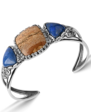 by Carolyn Pollack Picture Jasper and Blue Lapis Gemstone Cuff Bracelet in Sterling Silver