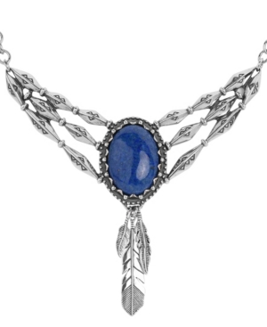 by Carolyn Pollack Denim Lapis Gemstone Plaque with Feather Dangles Necklace in Sterling Silver
