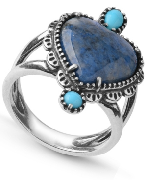 by Carolyn Pollack Denim Lapis and Turquoise Gemstone Concha Style Heart Ring in Sterling Silver
