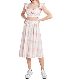 Plaid Button-Front Skirt