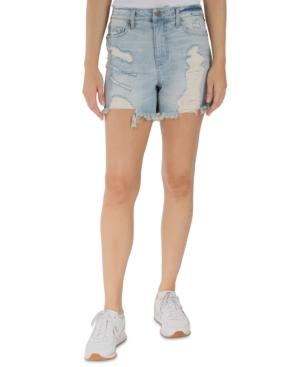 Juniors' Distressed Frayed-Hem Denim Shorts